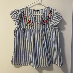 SHEIN Blue Striped Floral Embroidered Blouse